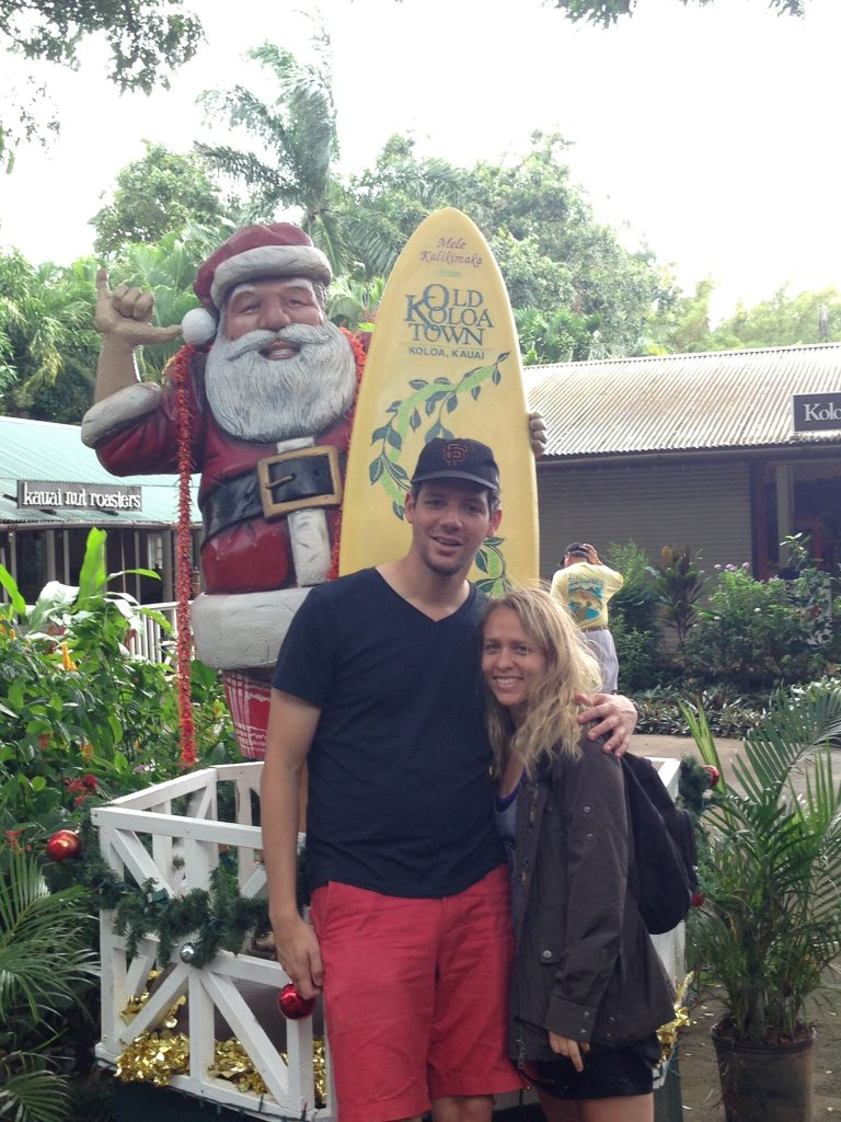 Poipu Beach Center with Santa Claus.