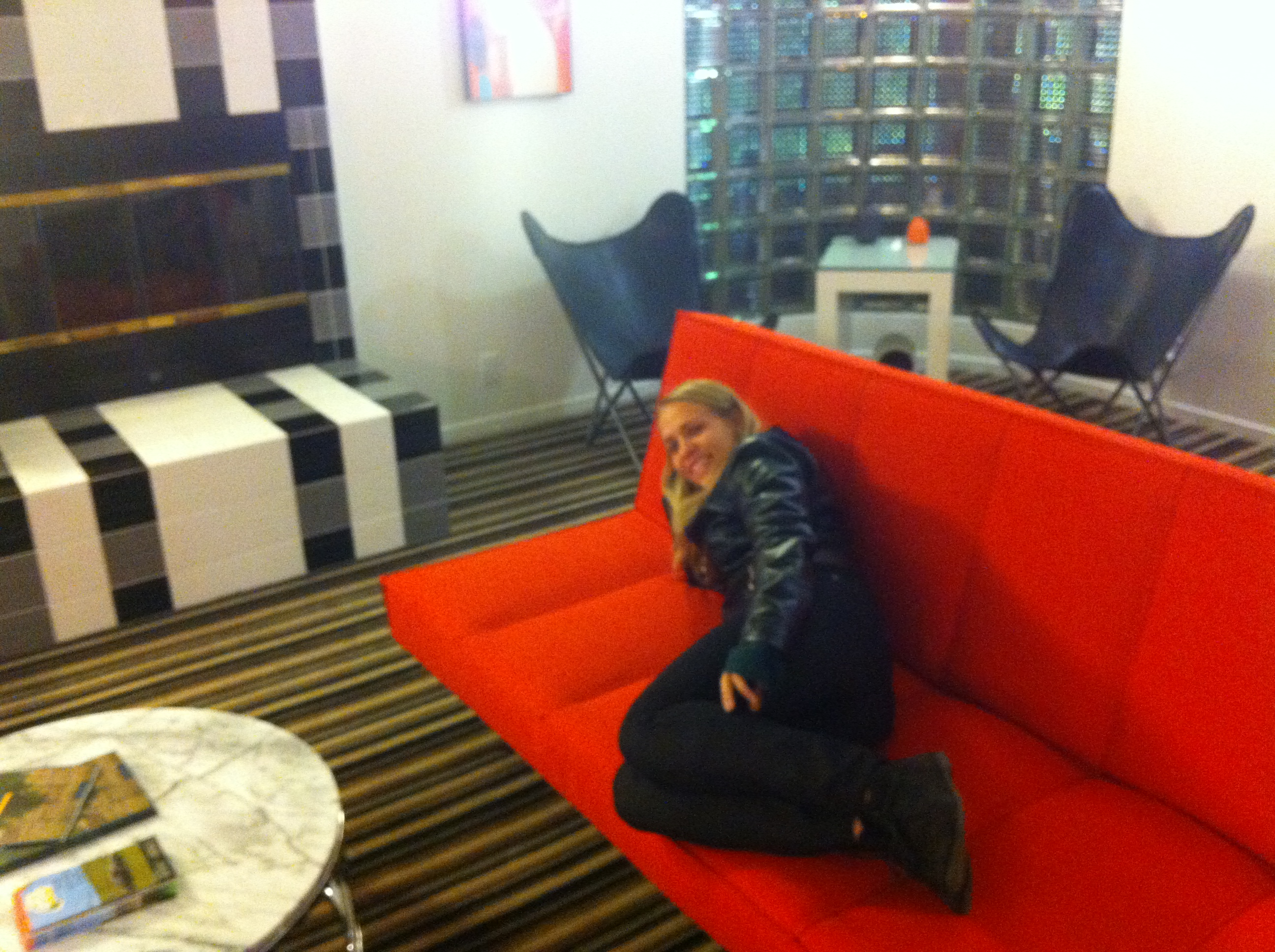 Lounging in the lobby of the Sunburst Calistoga