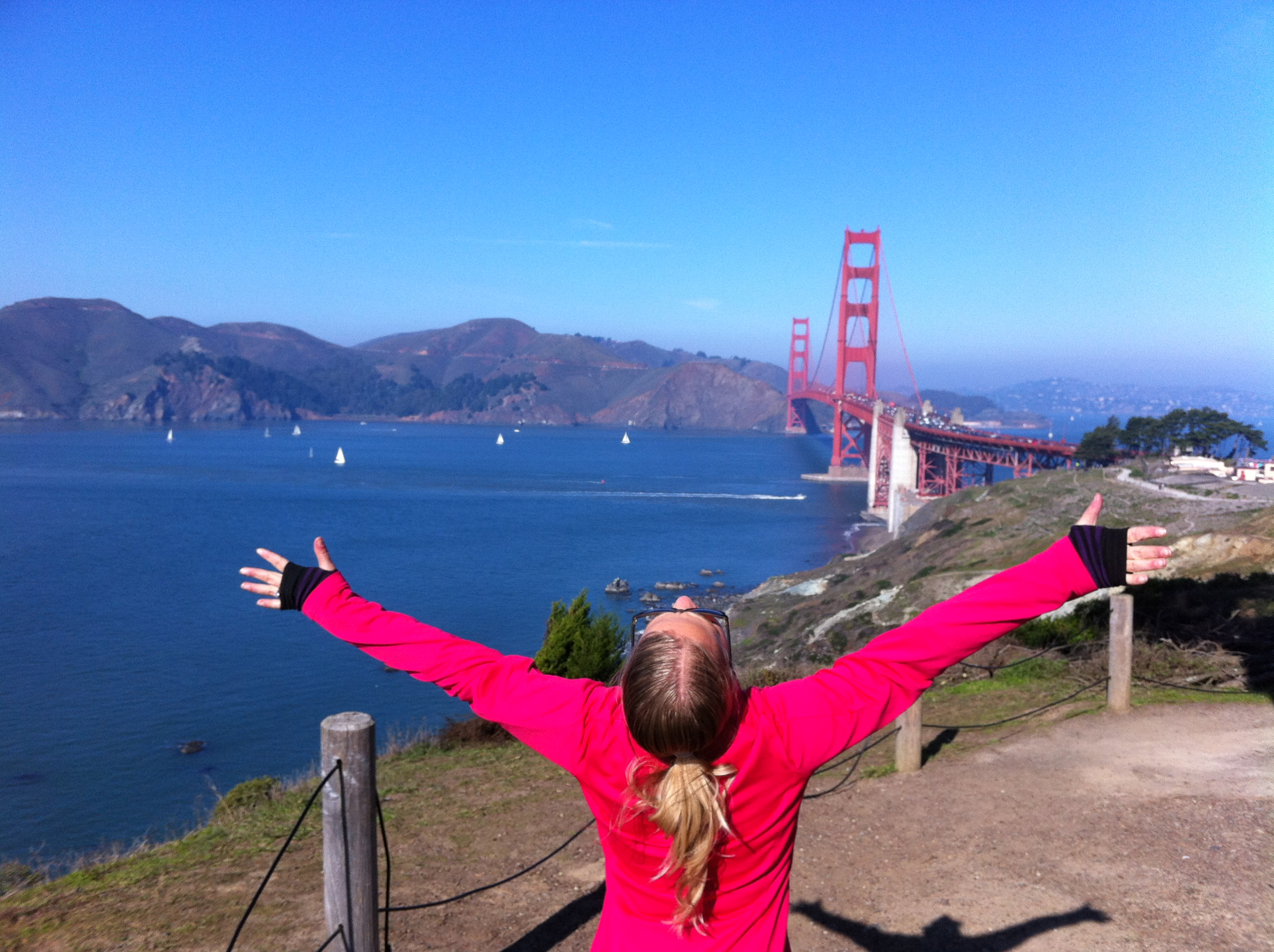 In awe of the Golden Gate Bridge along the Coastal Battery Trail.