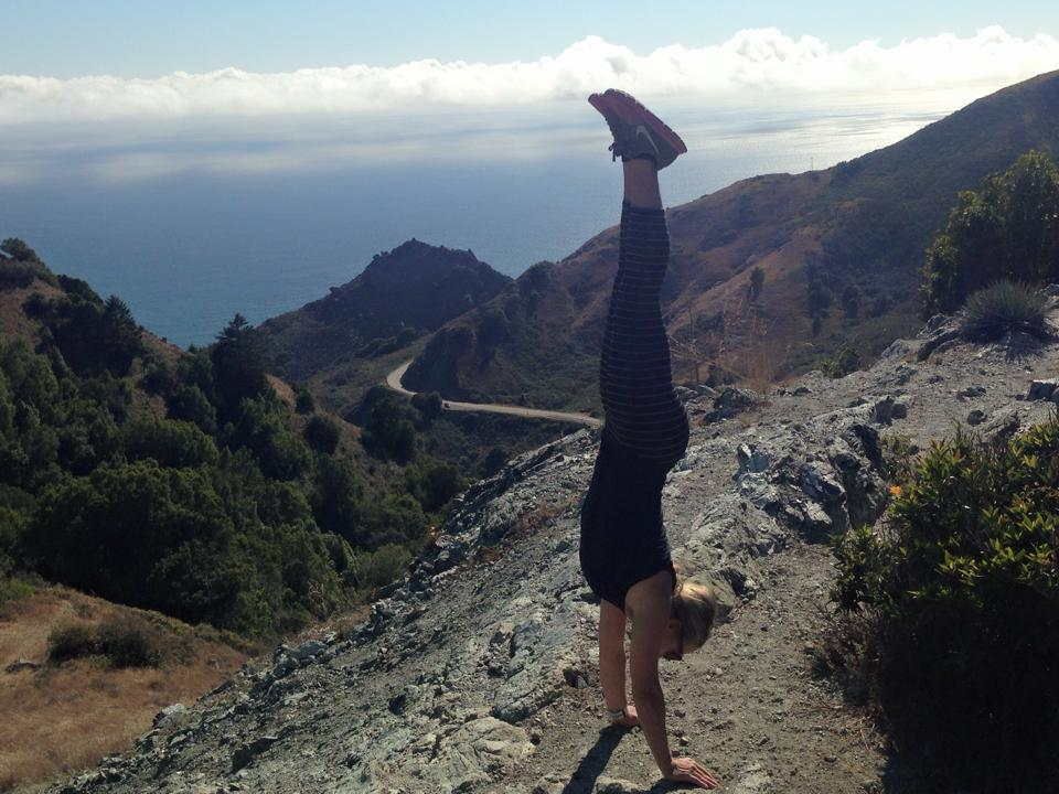 Big Sur - Handstand Steph showing off on the Limekiln trail, located in the southern part of Big Sur.