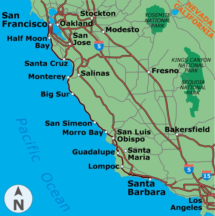 California Coastal Map. The popular and big attractions on the way are Santa Barbara, The Hearst Castle, and Malibu.