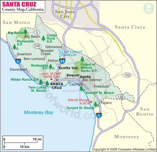 Santa Cruz Area - Once you have reached Santa Cruz explore the boardwalk area for cheap rollercoasters or the Mystery Spot for paranormal activity..