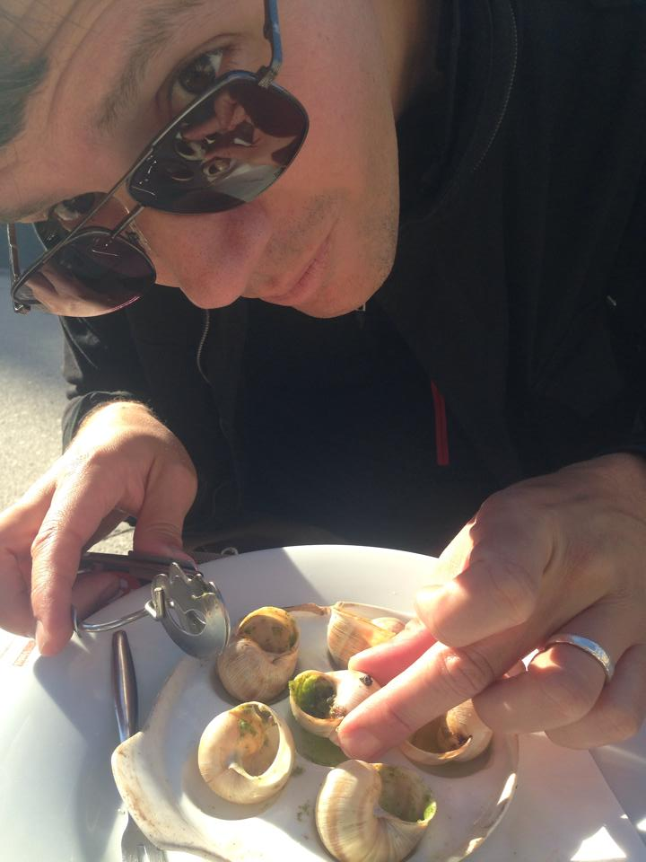 Eating escargot in Dijon.