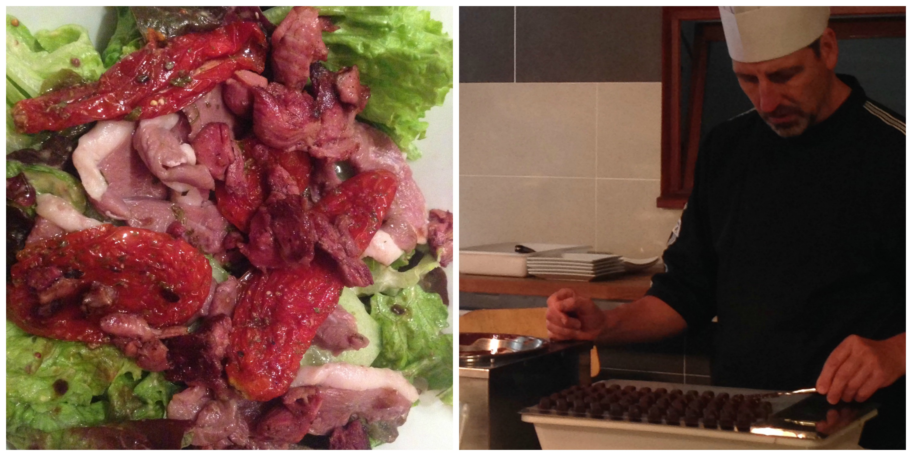 Duck salad at Cafe de la Place & Chocolate-Making from Guillaume Daix