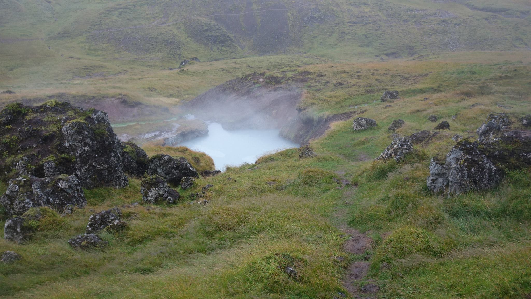 "Reykjadalur Hike, located roughly 35 miles from Reykjavik, the area of Reykjadalur (meaning ""hot river"") ."